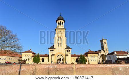 Alba Iulia city Romania The Coronation Orthodox Cathedral and Roman Catholic church