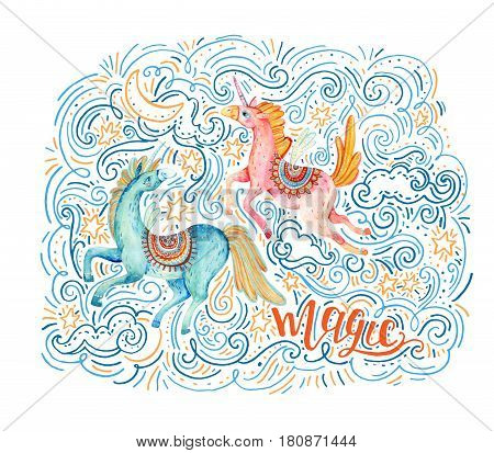 Watercolor pair of flying unicorns surrounded by doodle cloud star moon wave dots dash on night background. Lovely unicorn in cartoon style. Magic lettering. Hand painted fairy tale illustration