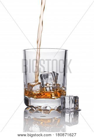 Pouring Scotch Whiskey In Glass With Ice Cube