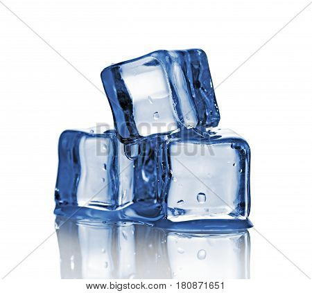 Group Of Three Blue Wet Ice Cube