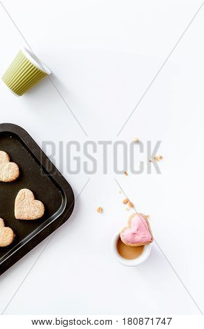 cookies for romantic breakfast heartshaped on white background top view