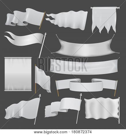 Realistic white advertising textile flags and banners vector set. Flag banner and fabric canvas poster illustration. Promotion frame message marketing mockup.