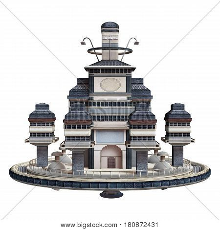 3D rendering of a science fiction flying village isolated on white background