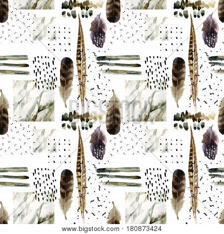 Abstract watercolor background : brush stroke doodle marbling grunge paper texture. Water color marble painting bird feather ink scribble seamless pattern. Hand painted minimalistic illustration