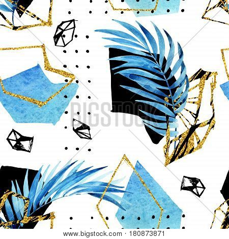 Abstract background: watercolor palm leaves gem grid golden geometrical shape. Glittering geometric gem in low poly style doodle water color tropical leaf seamless pattern. Hand drawn illustration