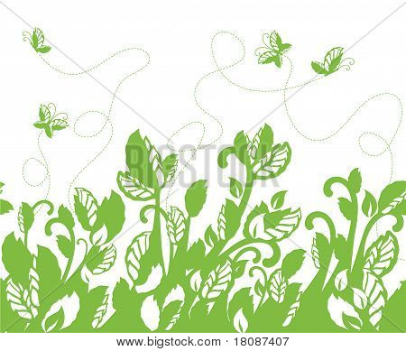 Green Foliage Border And Butterflies.eps