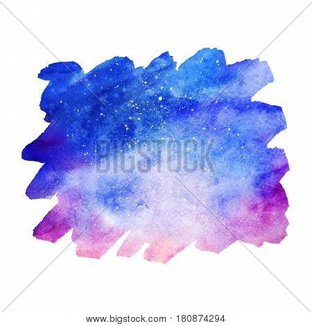 Watercolor colorful starry space galaxy nebula spot background