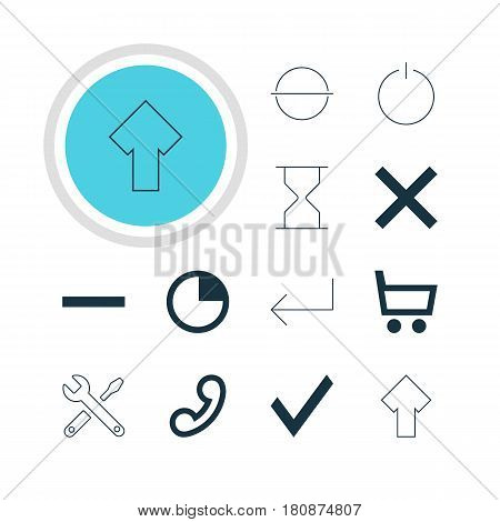 Vector Illustration Of 12 Interface Icons. Editable Pack Of Switch Off, Wrong , Handset Elements.