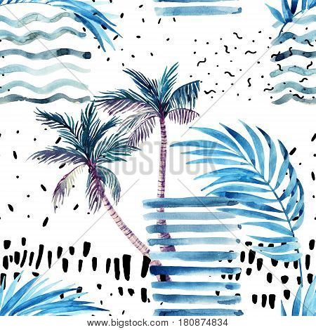Abstract summer seamless pattern. Watercolor palm tree leaves grunge textures doodles brush strokes. Water color background in minimalistic style. Hand painted tropical illustration