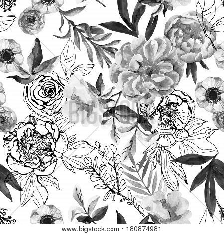 Watercolor and ink doodle flowers leaves weeds seamless pattern. Hand painted drawn floral background with peonies anemones ranunculus dog rose branch meadow herbs in monochrome colors