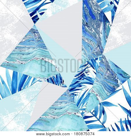 Abstract watercolor triangle and tropical leaves patchwork pattern. Geometric shapes with palm leaf marble grunge textures background. Hand painted colorful natural illustration for modern design