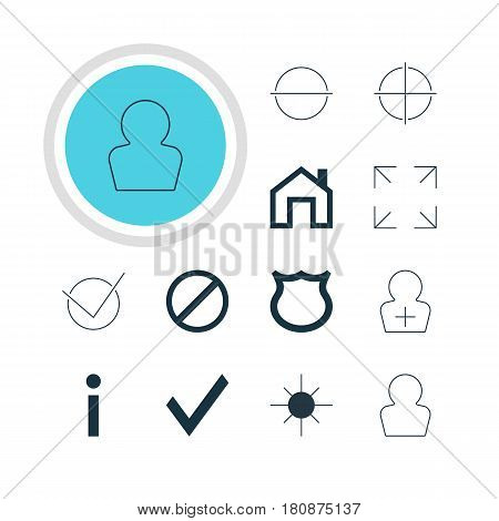 Vector Illustration Of 12 Interface Icons. Editable Pack Of Positive, Wide Monitor, Info And Other Elements.