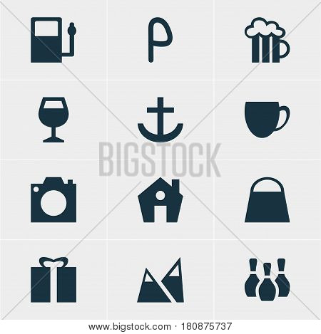 Vector Illustration Of 12 Map Icons. Editable Pack Of Coffee Shop, Skittles, Present And Other Elements.