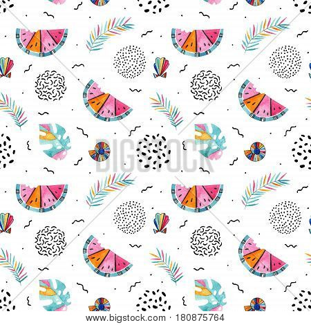 Abstract summer background in memphis style. Bright decorative seamless pattern with hand drawn doodle and watercolor elements: watermelon palm leaf seashell. Erratic juxtaposed illustration