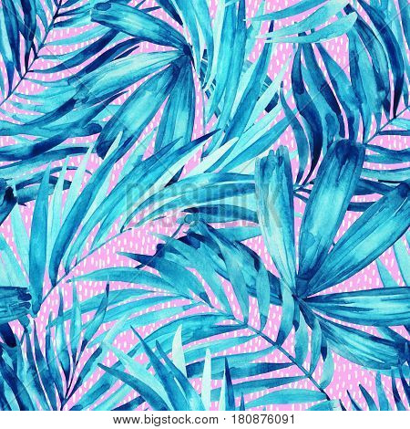 Watercolor tropical leaves seamless pattern. Watercolour palm leaves painting in minimal style Hand painted illustration for summer design on textured background.
