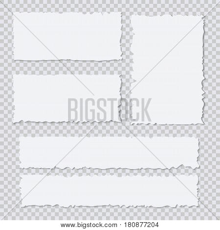Blank white torn paper pieces on transparent background. Design element ripped sheets paper. Vector illustration set
