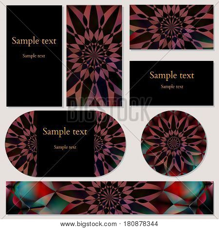 Set of cards with floral oriental motifs ornament for business, invitations and other design needs. Vector illustration editable with sample text