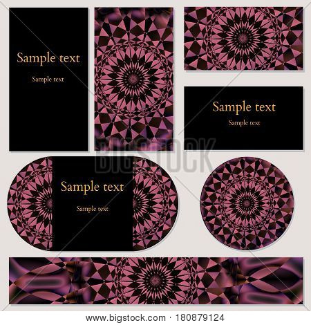 Set of template cards with circular floral mandala ornament for business, invitations and other print and design needs. Vector illustration editable with sample text