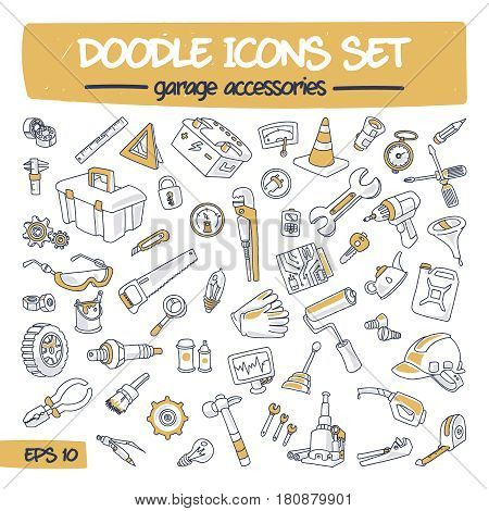 Doodle Icons Set - Garage Accessories. Sketch Sign Illustration on Paper of Hand Drawn Tools. Colorfull Hand Drawing Line Icons for Web, App, Mobile, Business, Finance, Technology, Education. .