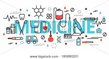 Modern flat editable line design vector illustration concept of medicine for graphic and web design