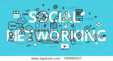 Modern flat thin line design vector illustration concept of social networking for graphic and web design