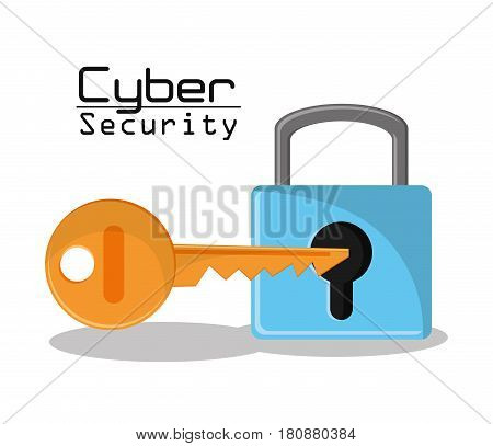 cyber security padlock key protection data access vector illustration eps 10