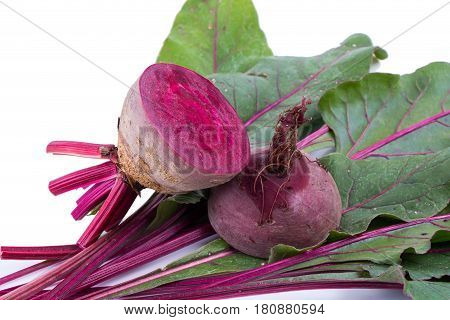 Fresh Beetroots With Leaves On White Background
