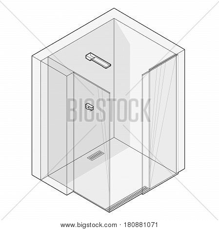 Shower enclosure with sliding glass doors. Outlined modern white bathroom. Vector barier free shower, isometric perspective. Isolated sanitary equipment. Enclosure shower with modern water battery tap