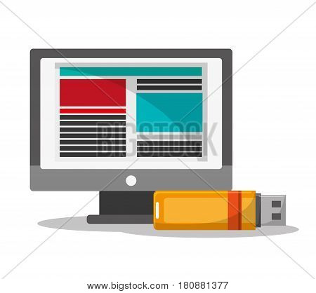 cyber security computer usb information network vector illustration eps 10