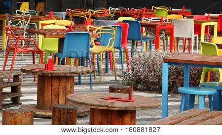 Chairs colorful restaurant cafe empty