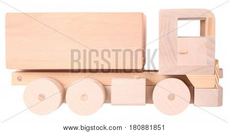 Wooden handmade toy truck