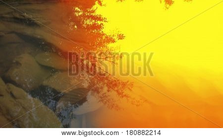 Abstract Crystalline Water Stream Surface And Stone Or Pebble With Tree Bush Shadow Silhouette Natur