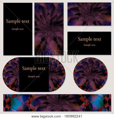 Set of five template cards with floral mandala pattern for business, invitations and other print and design needs. Vector illustration editable with sample text