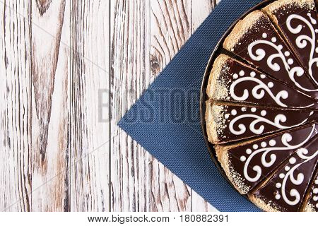 European Cake Covered With Chocolate Velor.