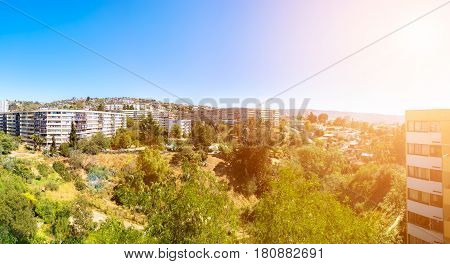 Panoramic view ofthe hill of Vina del Mar Chile