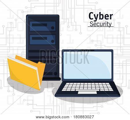 cyber security technology file folder vector illustration eps 10