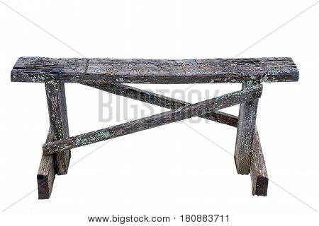 Old Wooden Bench On A White Background