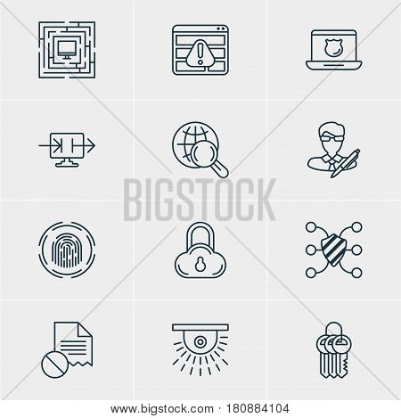 Vector Illustration Of 12 Data Icons. Editable Pack Of Send Information, Finger Identifier, System Security And Other Elements.