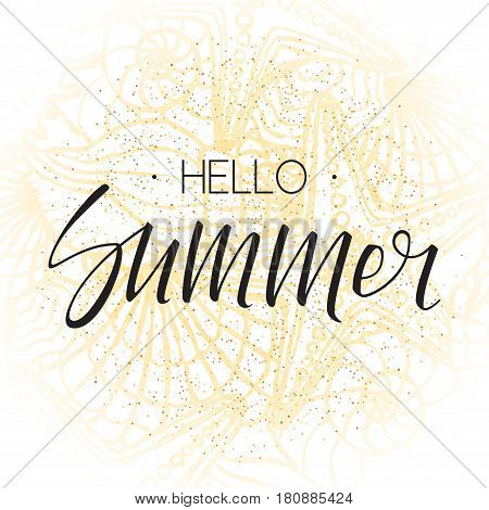 Hello summer lettering on hand drawn background with seashells. Vector illustration with ornament from seashells and sea stars.