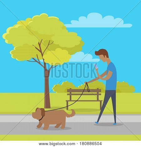 Leisure in city park vector. Man character watching in phone and walk his dog in public square flat vector. Walking pets in public places illustration for urban infrastructure concepts