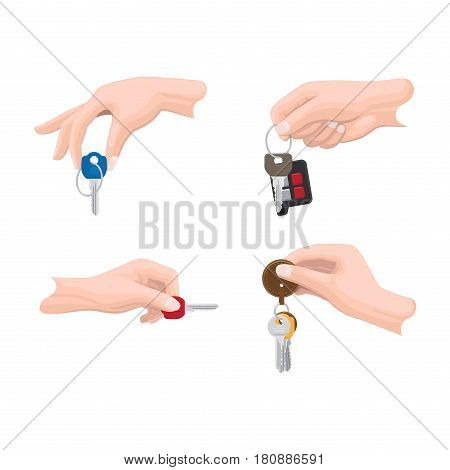 Doors and car keys in human hands set. Mans hand holding modern keys with trinket and car remote alarm on keyring flat vector illustrations isolated on white for real estate, auto and security concept