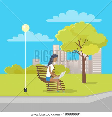 Woman in white T-shirt and jeans skirt with laptop on her knees sits on bench near tree and streetlight in city park. There is also bushes, clouds and skyscrapers on background vector illustration.