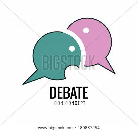 Debate and dialog discussion conversations symbol. thin line flat design. vector illustration