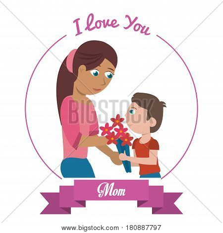 i love you mom card - woman and son gifting flowers vector illustration eps 10