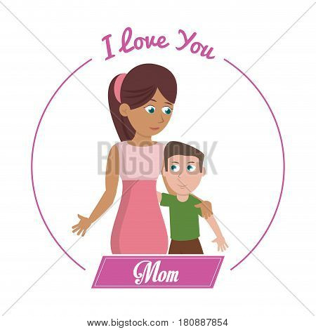 i love you mom card woman and son vector illustration eps 10