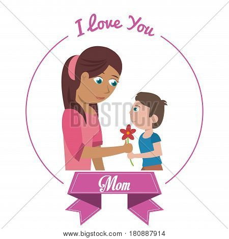 i love you mom card son giving flower vector illustration eps 10