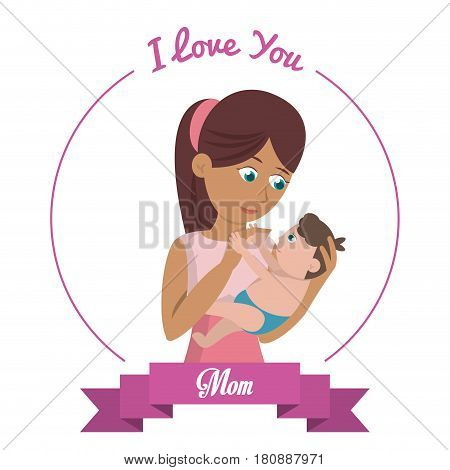 i love you mom card woman carries baby vector illustration eps 10