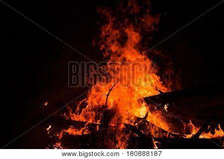 Bonfire Burning Trees At Night. Bonfire Burning Brightly, Heat, Light,camping, Big Bonfire. Close Up