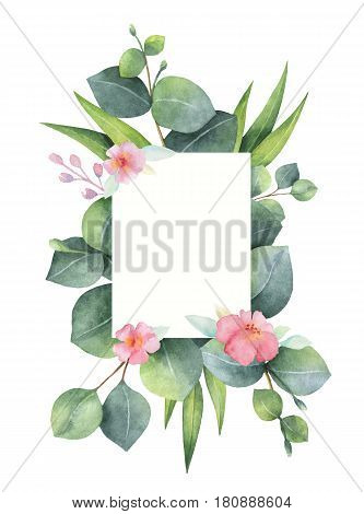 Watercolor hand painted green floral card with eucalyptus and pink flowers isolated on white background. Healing Herbs