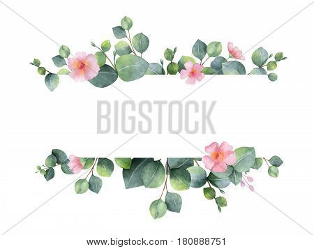 Watercolor hand painted green floral banner with eucalyptus and pink flowers isolated on white background.